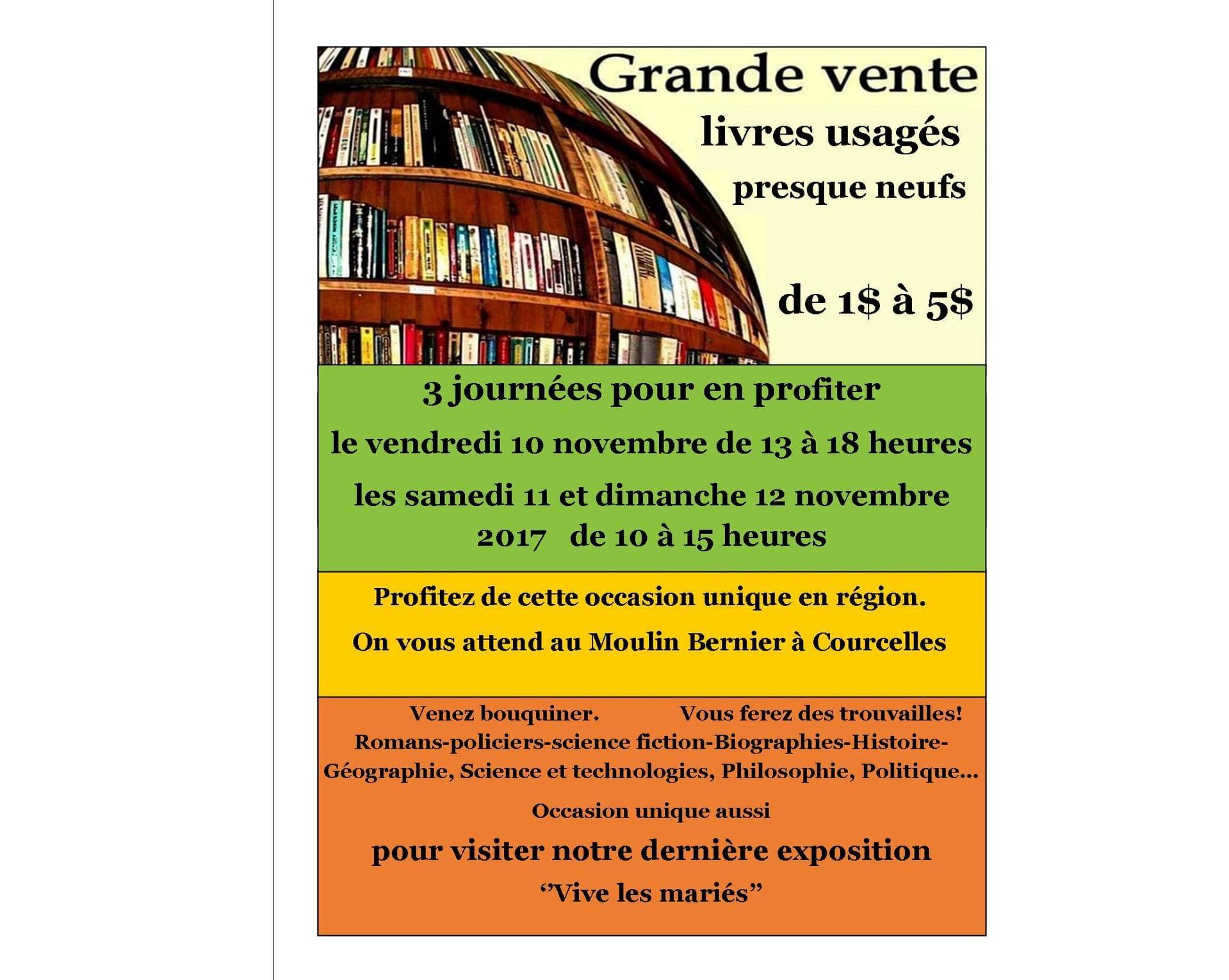 Grande vente de livres usagés, Moulin Bernier, Courcelles