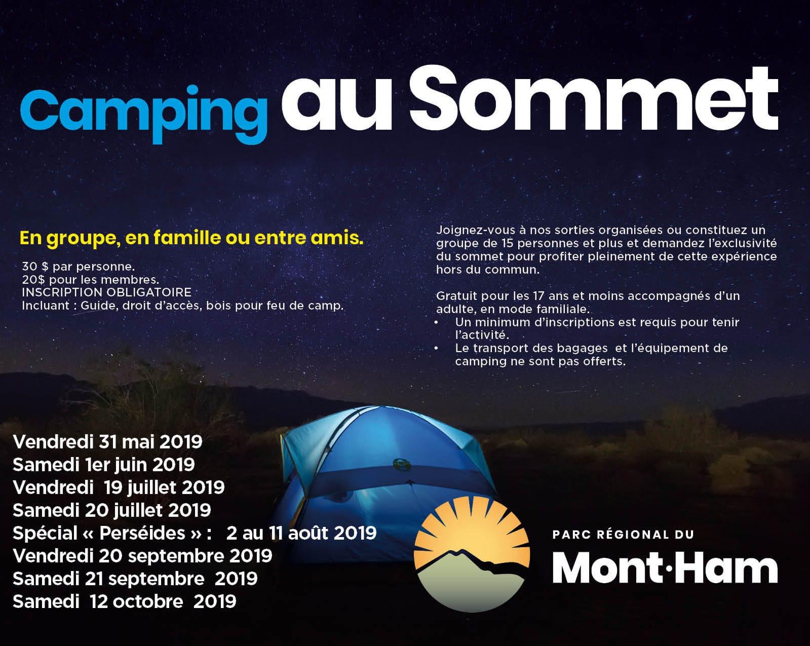 Camping au sommet du Mont-Ham