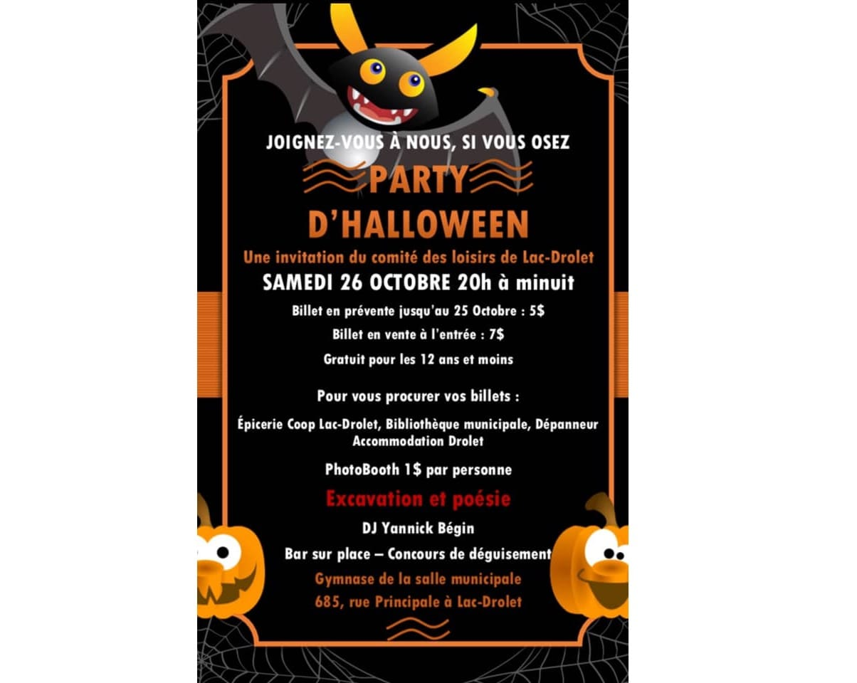 Party d'Halloween de Lac-Drolet