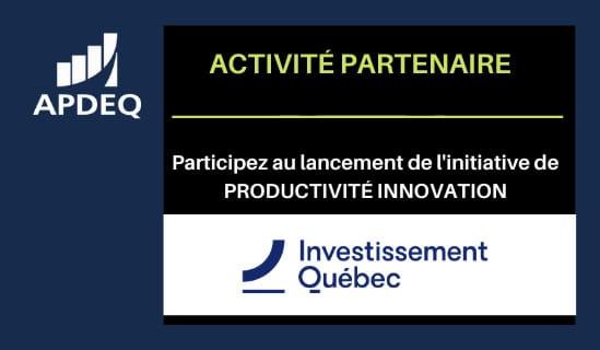 Participez au lancement de l'initiative Productivité innovation