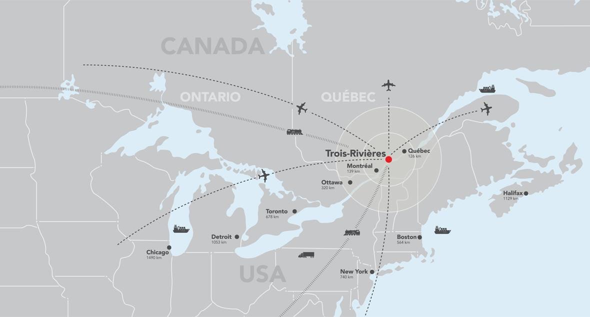Carte Canada Boston.Transportation Ide Trois Rivieres